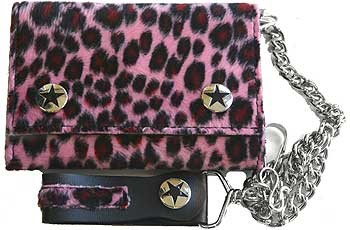 Black and Pink Fuzzy Leopard Print Wallet w/ chain
