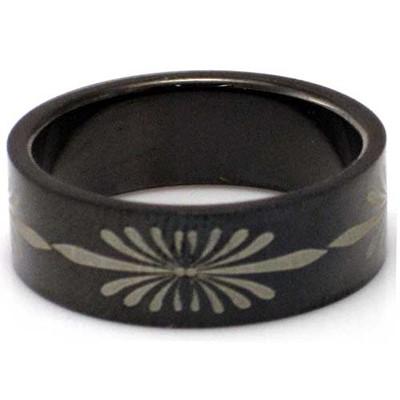Blackline Flower Design Stainless Steel Ring by BodyPUNKS (RBS-033)