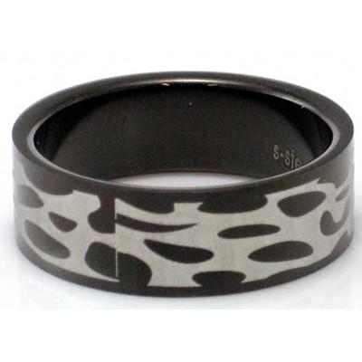 Blackline Tribal Web Design Stainless Steel Ring by BodyPUNKS (RBS-002)