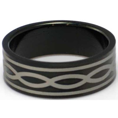 Blackline Lines Design Stainless Steel Ring by BodyPUNKS (RBS-026)