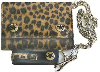 Black and Tan Fuzzy Leopard print wallet w/ chain
