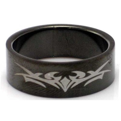 Blackline Tribal Design Stainless Steel Ring by BodyPUNKS (RBS-034)