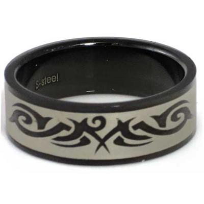 Blackline Tribal Design Stainless Steel Ring by BodyPUNKS (RBS-032)