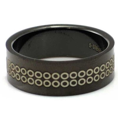 Blackline Dots Design Stainless Steel Ring by BodyPUNKS (RBS-006)