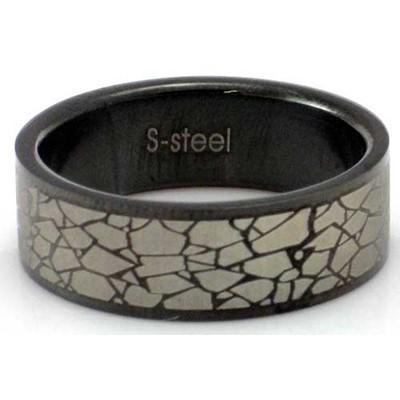 Blackline Shattered Design Stainless Steel Ring by BodyPUNKS (RBS-003)