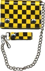 Black and Yellow Checkered Trifold Wallet w/ chain