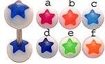 14g or 12g YOU PICK, star barbell surgical steel tongue ring