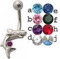 14g Curved Barbell Shark with Color Gem Eye Belly Button Navel Rings