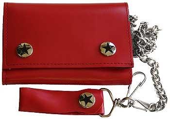 Solid red Tri Fold punk rocker Wallet w/ Chain