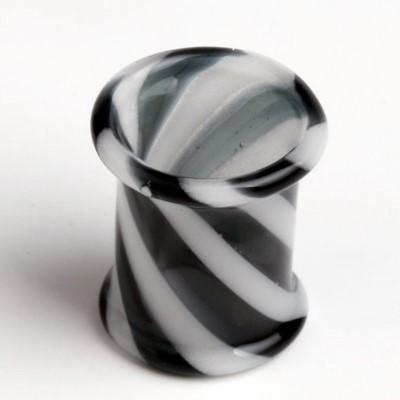 Hollow Zebra Pyrex Plug in Black/White