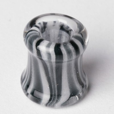 Double Flared Hollow Design Pyrex Plug in Black/White