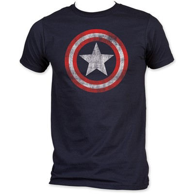 Captain America - Shield Fitted Jersey S/S T-Shirt in Navy