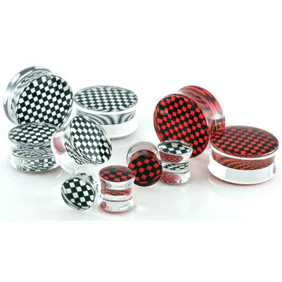 Double Flared Checkered Acrylic Plug - Available from 8g to 2 Inches!