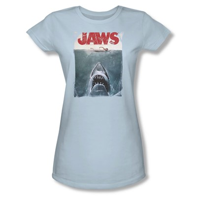 Jaws - Womens Title T-Shirt In Light Blue