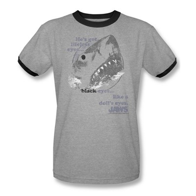 Jaws - Mens Like A Doll'S Eyes Ringer T-Shirt In Heather/Black