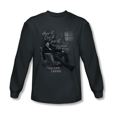 Vampire Diaries - Mens Be Yourself Long Sleeve Shirt In Charcoal