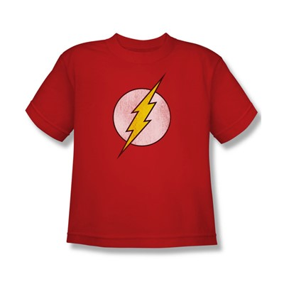 The Flash Logo Distressed Big Boys S/S T-shirt in Red by DC Comics
