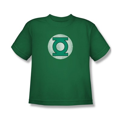 Green Lantern Gl Logo Distressed Big Boys S/S T-shirt in Kelly Green by DC Comics