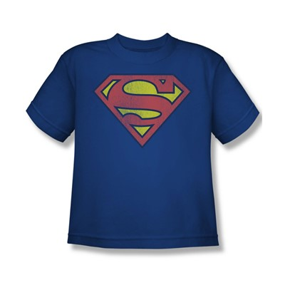 Superman Retro Supes Logo Distressed Big Boys S/S T-shirt in Royal by DC Comics