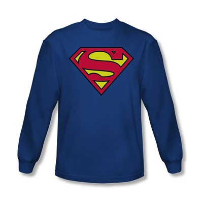 Superman - Classic Logo Adult L/S T-Shirt In Royal Blue