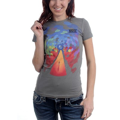 Muse Bleach Cover Juniors S/S T-Shirt In Charcoal