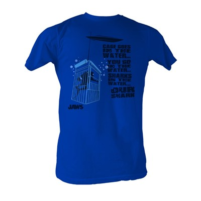 Jaws - Cage In The Water Mens T-Shirt In Royal Blue