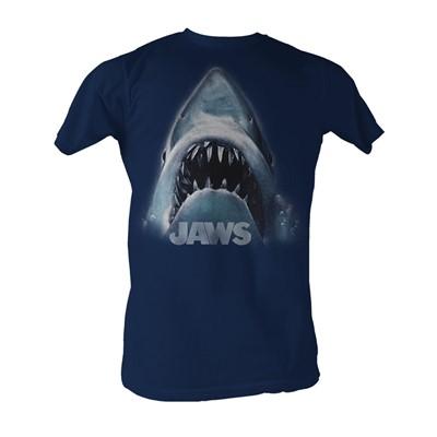 Jaws -  Head Logo Mens T-Shirt In Navy