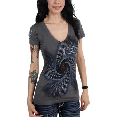 Tool-  Spiral Juniors V-Neck T-shirt in Dark Grey