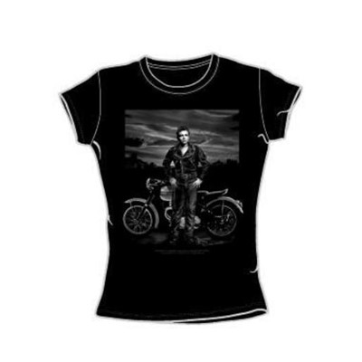 Dean - Rebel Rider - Juniors Black Sheer Cap Sleeve T-Shirt For Women