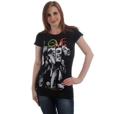 Bob Marley - One Love Stripes Womens T-Shirt in Black
