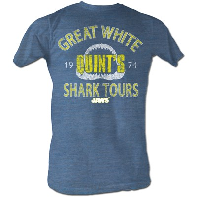 Jaws - Mens Shark Tour T-Shirt In Pacific Blue Triblend