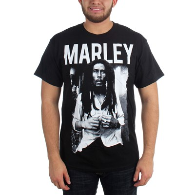 Bob Marley - Black & White Adult T-Shirt in Black