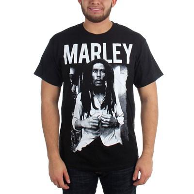 Bob Marley - Black & White Adult T-Shirt in Black