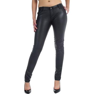 Tripp NYC Juniors / Womens Vinyl Leather Super Skinny Deville Jeans / Pants in Black