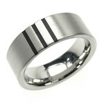 Classic Titanium Band with 3 Laser Cut Strips for Him & Her