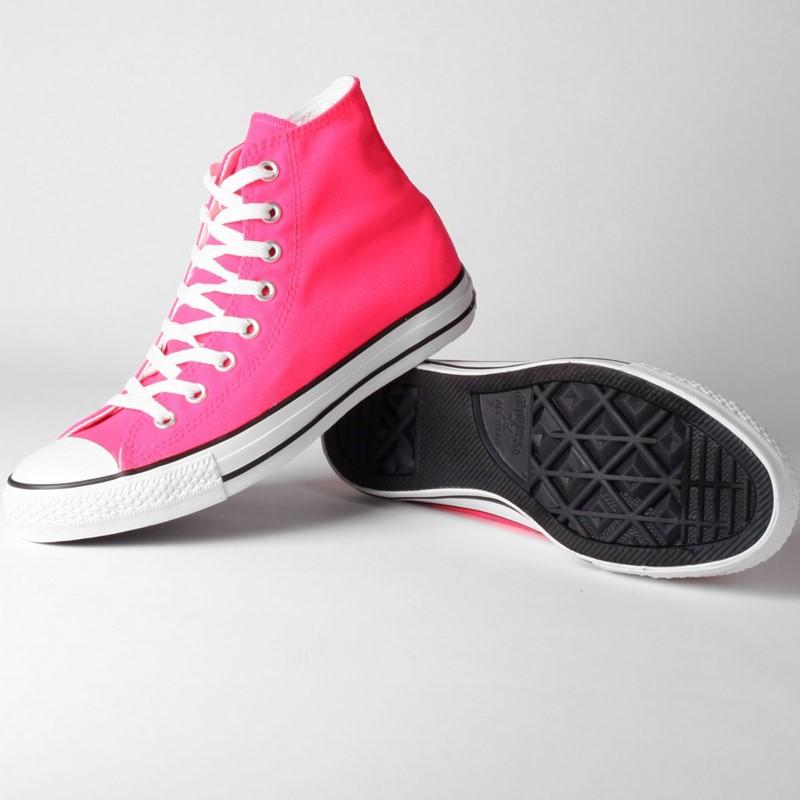 85649dcfcef5d3 Converse Chuck Taylor Neon Pink Hi Top Shoes (114062F)