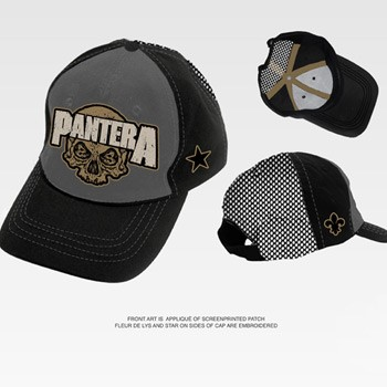 f70b63443d855 Pantera - Skull Trucker Hat In Charcoal Black