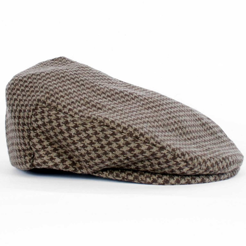 0c30848003399 Brixton - Hooligan Mens Hat In Taupe Brown Houndstooth