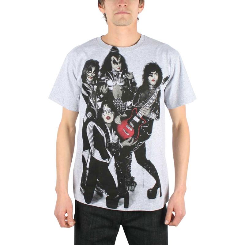 Kiss rocket ride mens t shirt in heather grey Mens heather grey t shirt