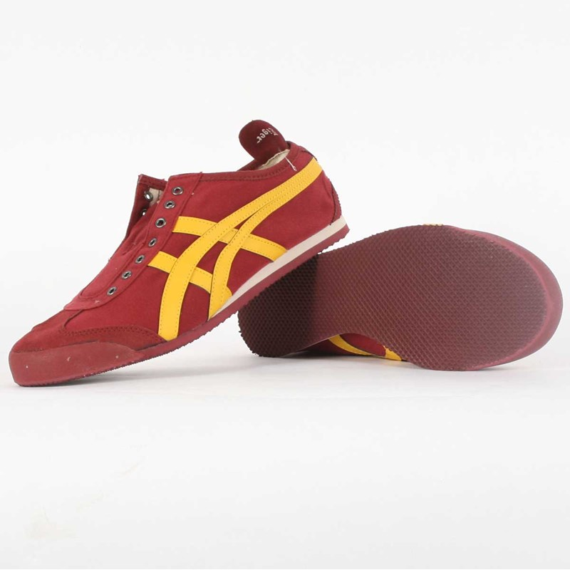 innovative design e628b ce6bc Onitsuka Tiger: Asics - Mens Mexico 66 Vegan Slip-On Shoes in Burgundy/gold
