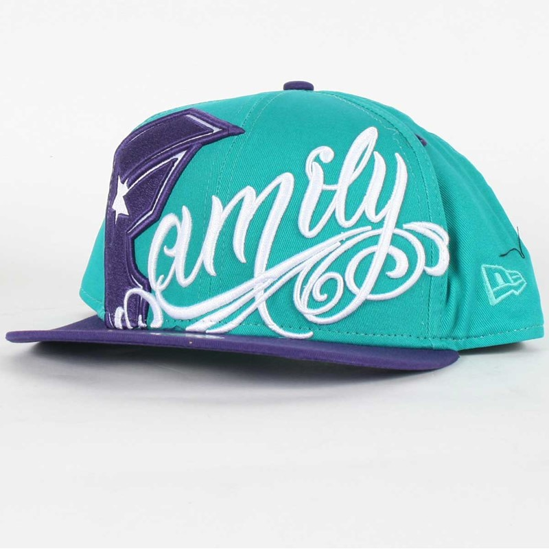 Famous Purple Logos Famous Stars And Straps Always Family Snapback Hat in Teal Purple White