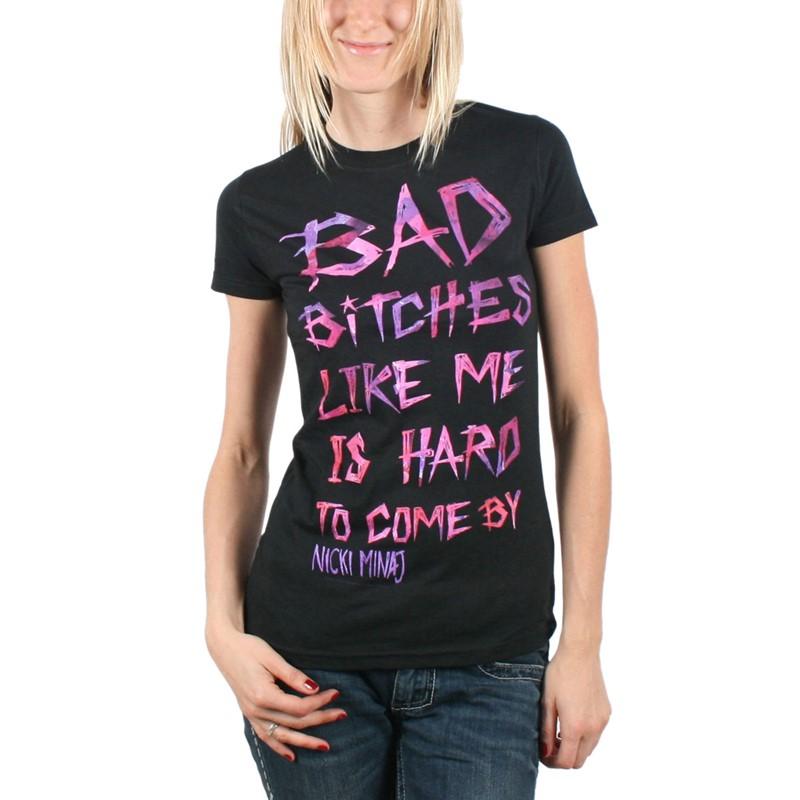 Nicki Minaj Womens Bad Bitches T Shirt In Black