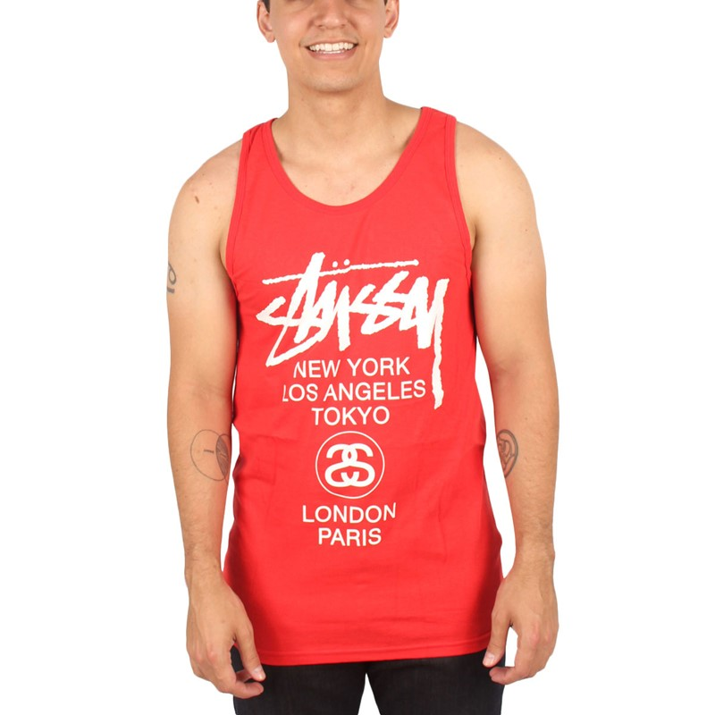 Stussy - Mens World Tour Tank Top in Red White Black 09801b1dc