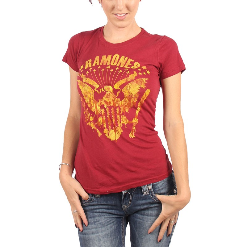 Ramones womens eagles vintage t shirt in dark red for Eagles t shirt womens