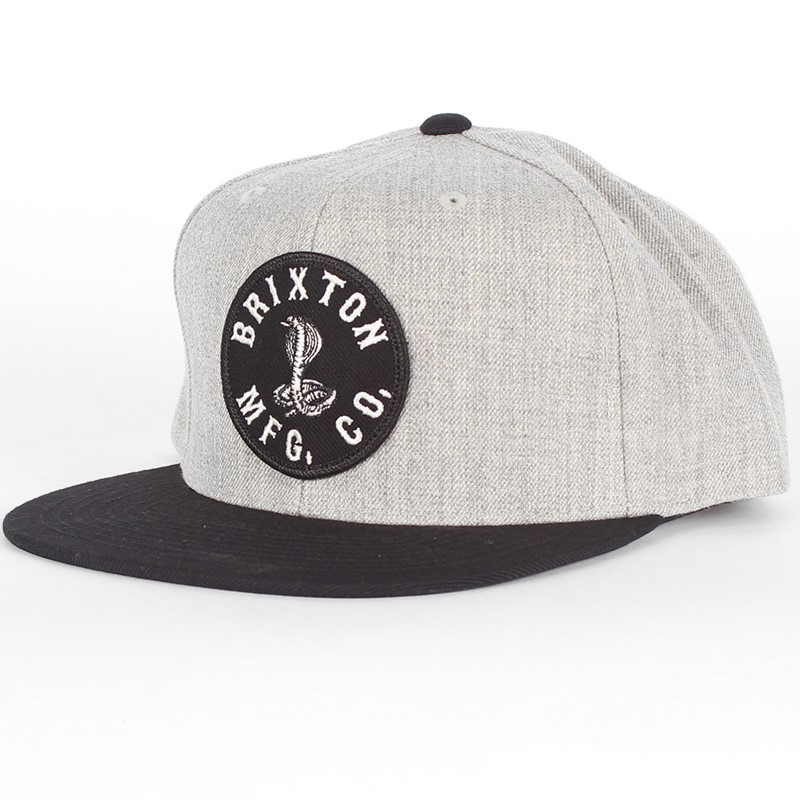 Brixton - Mens Cobra Snapback Hat in Light Heather Grey Black 862bf491eb6