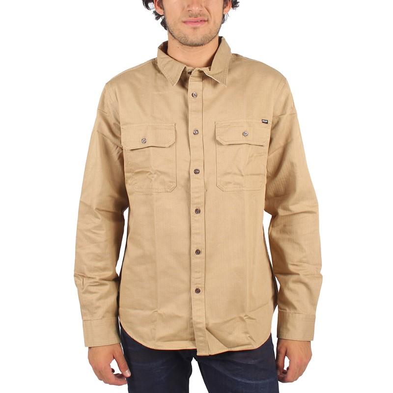 Huf Mens Potrero Long Sleeve Work Shirt In Khaki