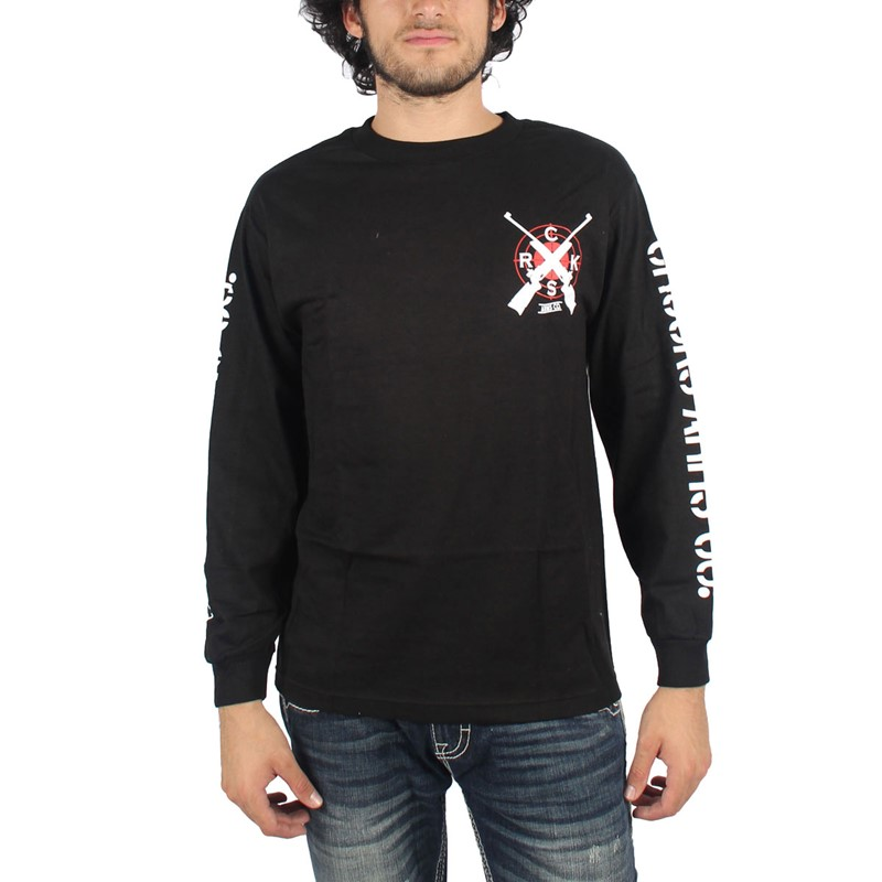 Crooks castles mens arms co longsleeve t shirt in black for Shirts for men with long arms