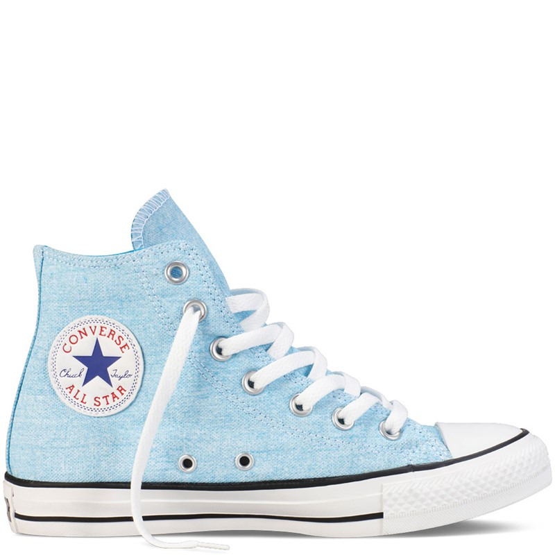 516bc43796644 Converse. Converse - Chuck Taylor All Star Basic Washed Neons Hi Canvas  Shoes in Neon Blue