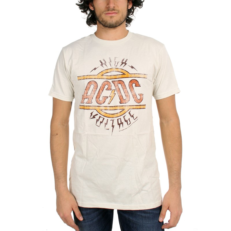 cheap for discount 00fa8 c7626 Ac/Dc - Mens High Voltage Fitted T-Shirt In Vintage White