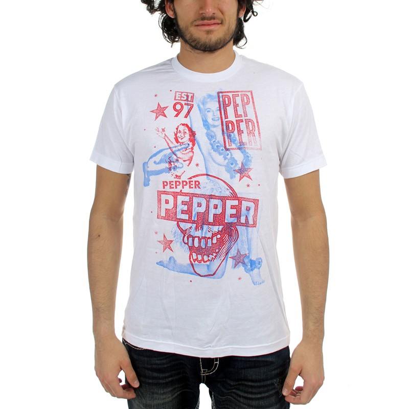 de1e8f472 Pepper - Mens Hula Girl T-Shirt in White